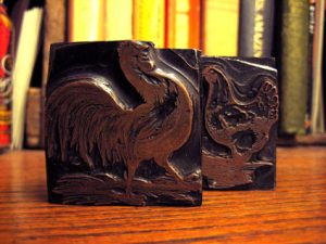 Brass Engravings Rooster and Hen