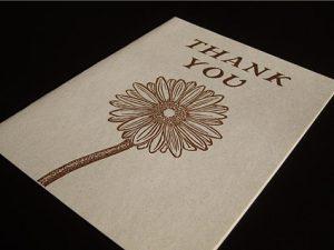 Gerbera Daisy Linocut Thank You Card