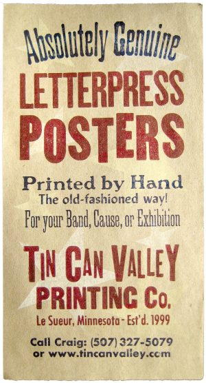 Tin Can Valley Letterpress Gig Poster